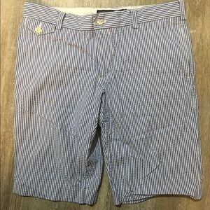 Ralph Lauren sport shorts 8 seersucker blue white